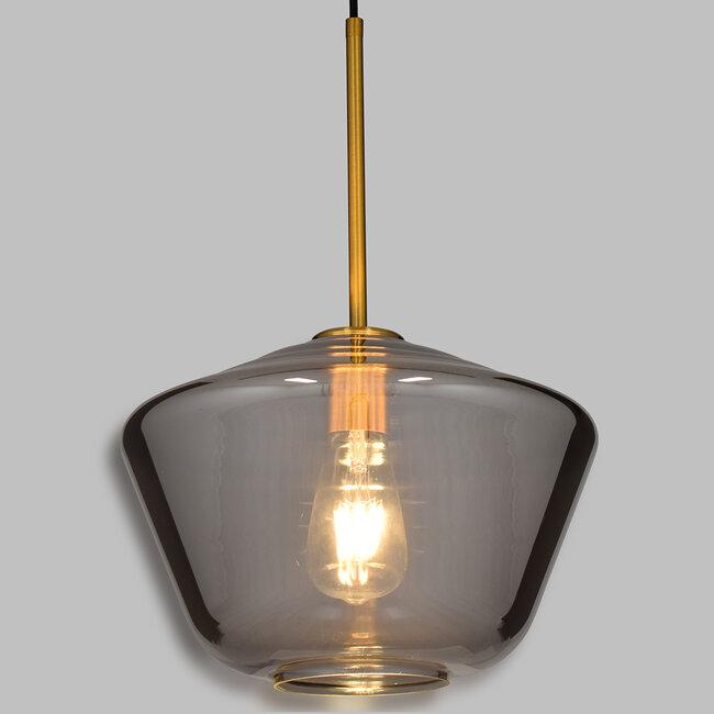 GloboStar® AMARIS 00873 Μοντέρνο Κρεμαστό Φωτιστικό Οροφής Μονόφωτο Γυάλινο Φιμέ Νίκελ Φ30 x 22CM - 2