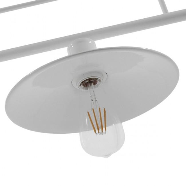 Vintage Industrial Φωτιστικό Οροφής Τρίφωτο Λευκό Μεταλλικό Ράγα GloboStar BILLIARD WHITE 01010 - 8