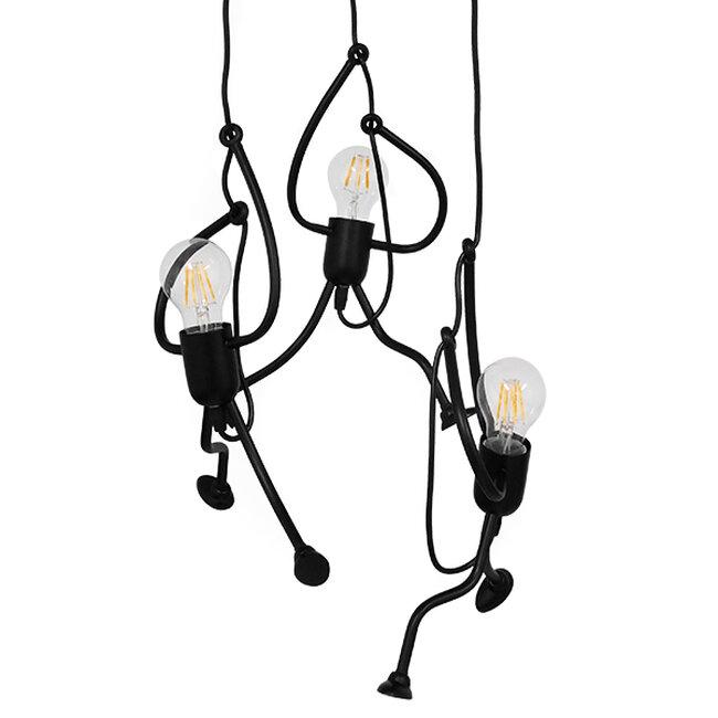 SET Μοντέρνο Κρεμαστό Φωτιστικό Οροφής Τρίφωτο Μαύρο Μεταλλικό Φ45  LITTLE MAN BLACK 01655 - 2