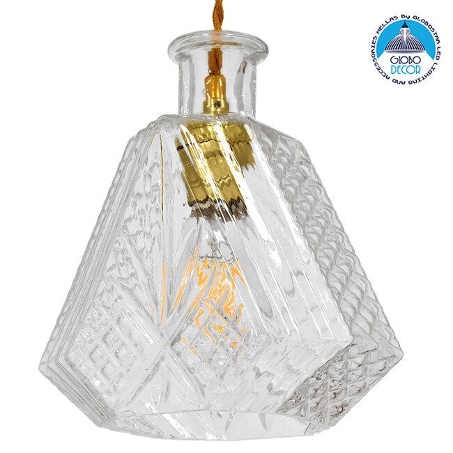 Vintage Κρεμαστό Φωτιστικό Οροφής Μονόφωτο Γυάλινο Διάφανο Φ11  LIQUEUR 01515 - 1