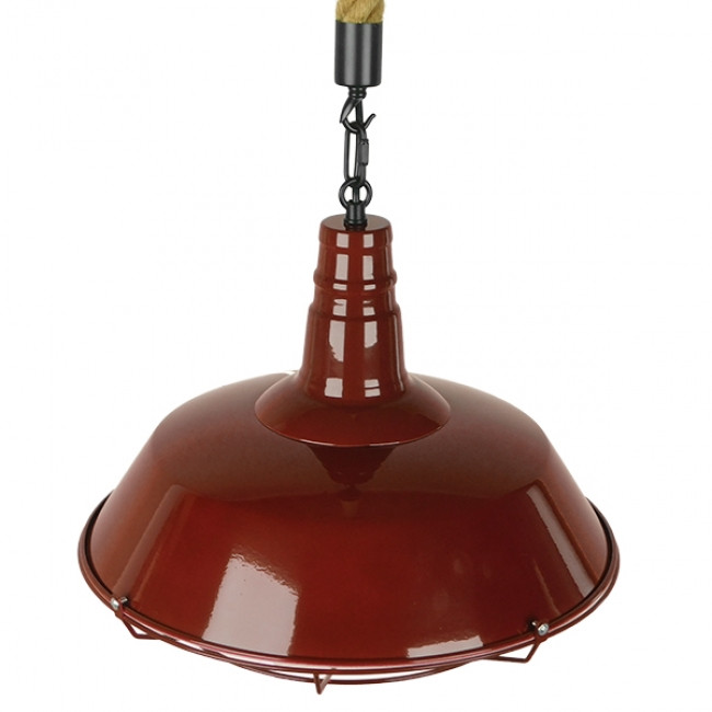 Vintage Industrial Κρεμαστό Φωτιστικό Οροφής Μονόφωτο Μπορντό Κόκκινο Λευκό Μεταλλικό Καμπάνα Πλέγμα με Μπεζ Σχοινί Φ36 GloboStar ISCAR 01410 - 5
