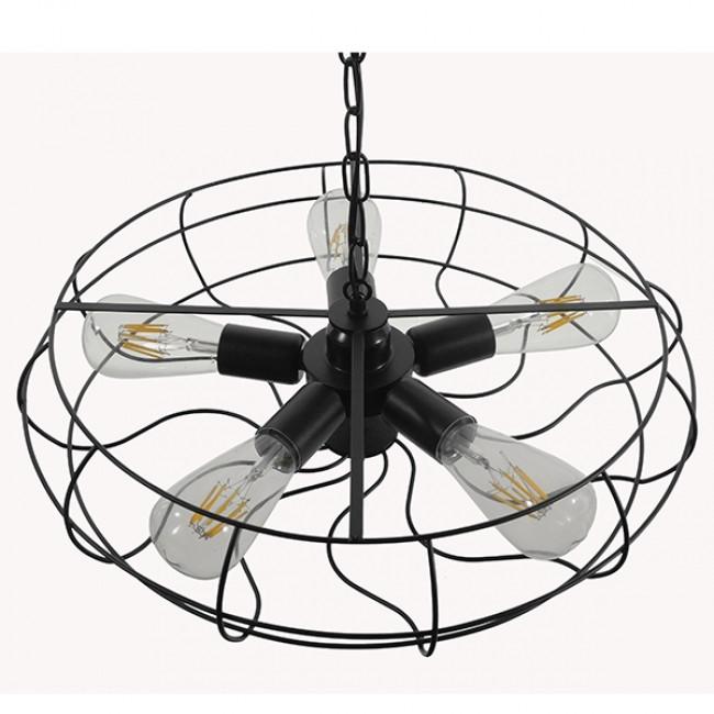 Vintage Industrial Κρεμαστό Φωτιστικό Οροφής Πολύφωτο Μαύρο Μεταλλικό Πλέγμα Φ46  HELIX 01164 - 6
