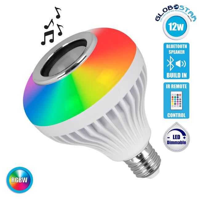 GloboStar® 76079 Λάμπα E27 PAR30 LED 12W 650lm 180° AC 85-265V με Bluetooth Speaker και Ασύρματο Χειριστήριο IR Πολύχρωμη RGBW 6000K - 1