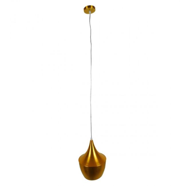 Μοντέρνο Κρεμαστό Φωτιστικό Οροφής Μονόφωτο Χρυσό Μεταλλικό Καμπάνα Φ24 GloboStar NADONG 01544 - 2