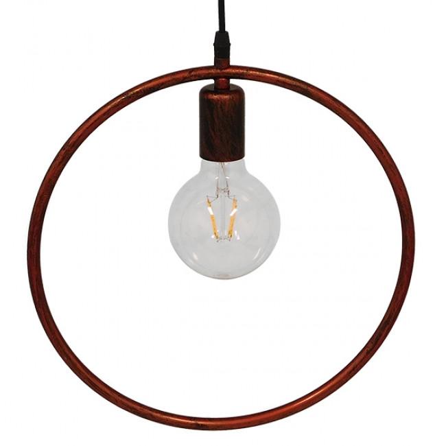 Μοντέρνο Κρεμαστό Φωτιστικό Οροφής Μονόφωτο Καφέ Σκουριά Μεταλλικό Φ33 GloboStar OMICRON IRON RUST 01579 - 5