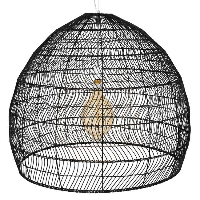 GloboStar® MALIBU 00966 Vintage Κρεμαστό Φωτιστικό Οροφής Μονόφωτο Μαύρο Ξύλινο Bamboo Φ97 x Y86cm - 5