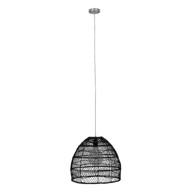 Vintage Κρεμαστό Φωτιστικό Οροφής Μονόφωτο Μαύρο Ξύλινο Bamboo Φ40cm  COMORES BLACK 00969 - 2