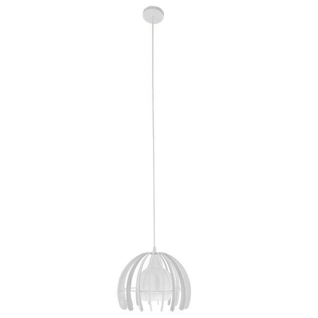 Μοντέρνο Κρεμαστό Φωτιστικό Οροφής Μονόφωτο Λευκό Μεταλλικό Πλέγμα με Λευκό Γυαλί Φ26  STEPHEN 01225 - 2
