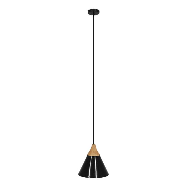 Μοντέρνο Κρεμαστό Φωτιστικό Οροφής Μονόφωτο Μαύρο Μεταλλικό με Ξύλο Καμπάνα Φ23  SHADE BLACK 00906 - 2