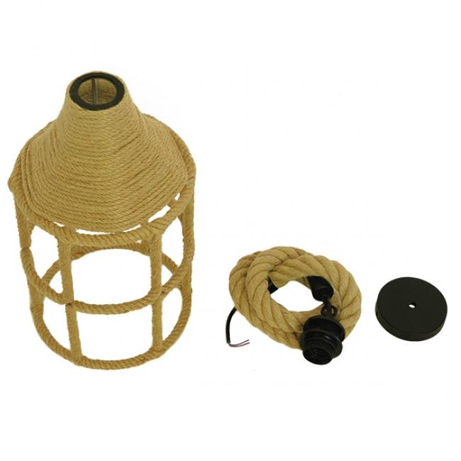 Vintage Κρεμαστό Φωτιστικό Οροφής Μονόφωτο Πλέγμα με Μπεζ Σχοινί Φ22 GloboStar YUBA 01612 - 10