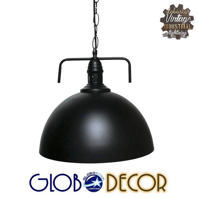 Vintage Κρεμαστό Φωτιστικό Οροφής Μονόφωτο Μαύρο Μεταλλικό Καμπάνα Φ31  LARKIN BLACK 01175 - 1