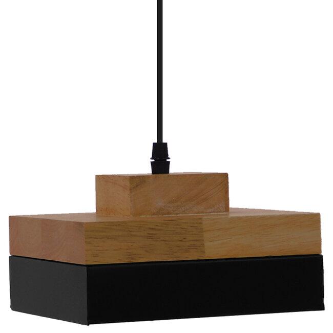 Μοντέρνο Κρεμαστό Φωτιστικό Οροφής Μονόφωτο Μαύρο Μεταλλικό με Φυσικό Ξύλο Καμπάνα Φ18 GloboStar LAOTH 01234 - 5