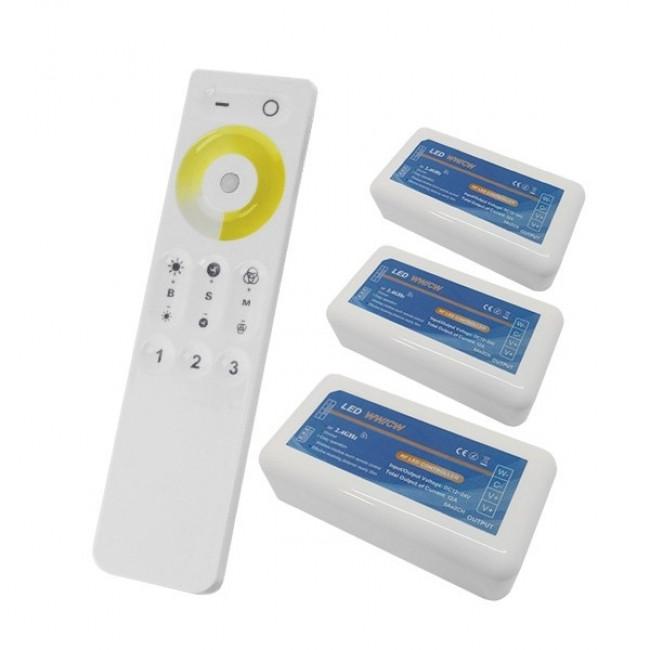 Σετ Ασύρματο RF 2.4G LED Dimmer Αφής 2 Χρωμάτων 12-24 Volt για Τρια Groups GloboStar 04340