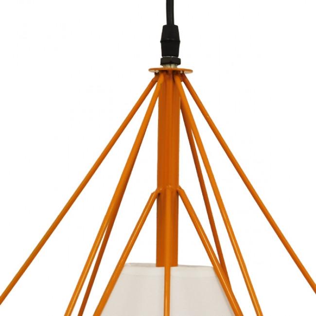Μοντέρνο Industrial Κρεμαστό Φωτιστικό Οροφής Μονόφωτο Πορτοκαλί με Άσπρο Ύφασμα Μεταλλικό Πλέγμα Φ38  KAIRI ORANGE 01621 - 6