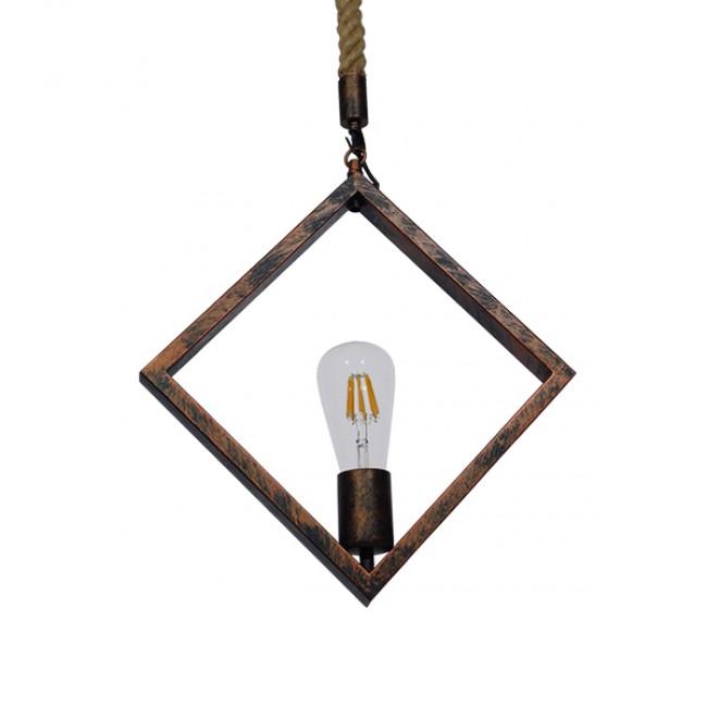 Vintage Industrial Κρεμαστό Φωτιστικό Οροφής Μονόφωτο Καφέ Σκουριά Μεταλλικό με Μπεζ Σχοινί GloboStar ALCO 01023 - 1