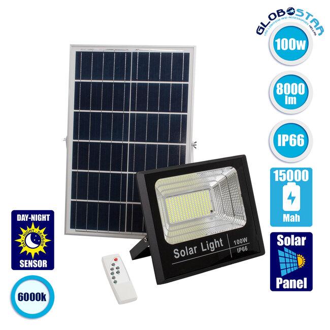 71557 Αυτόνομος Ηλιακός Προβολέας LED SMD 100W 8000lm με Ενσωματωμένη Μπαταρία 15000mAh - Φωτοβολταϊκό Πάνελ με Αισθητήρα Ημέρας-Νύχτας και Ασύρματο Χειριστήριο RF 2.4Ghz Αδιάβροχος IP66 Ψυχρό Λευκό 6000K - 1