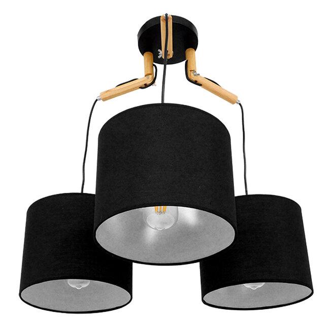 Μοντέρνο Κρεμαστό Φωτιστικό Οροφής Τρίφωτο Μαύρο με Ξύλο και Υφασμάτινα Καπελα Φ67  RAMSON BLACK 01525 - 5