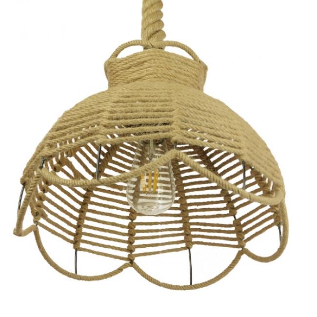 Vintage Κρεμαστό Φωτιστικό Οροφής Μονόφωτο Πλέγμα με Μπεζ Σχοινί Φ34 GloboStar VENIER 01610 - 6
