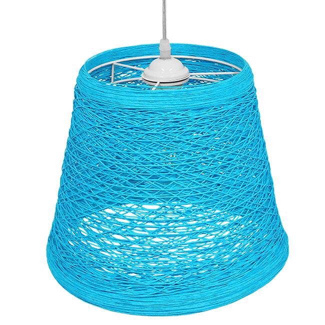 Vintage Κρεμαστό Φωτιστικό Οροφής Μονόφωτο Θαλασσί Ξύλινο Ψάθινο Rattan Φ32  ARGENT SEA BLUE 00995 - 4