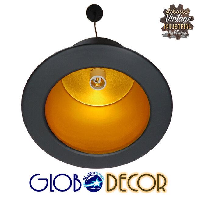 Vintage Κρεμαστό Φωτιστικό Οροφής Μονόφωτο Μαύρο Μεταλλικό Καμπάνα Φ26 GloboStar SHERLOCK 01215 - 8