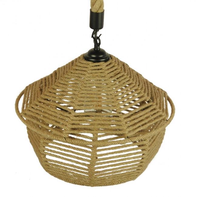 Vintage Κρεμαστό Φωτιστικό Οροφής Μονόφωτο Πλέγμα με Μπεζ Σχοινί Φ36 GloboStar SPIRIT 01607 - 4