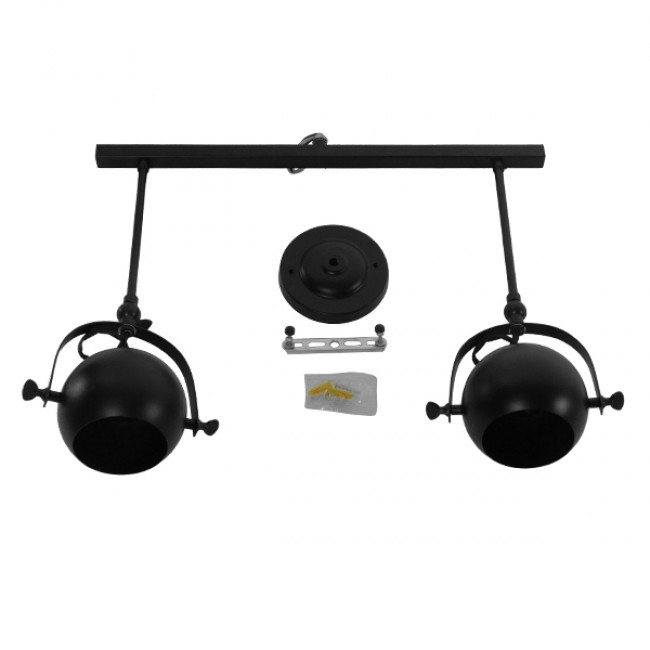 Μοντέρνο Φωτιστικό Οροφής Δίφωτο Μαύρο Μεταλλικό Ράγα  CANNES 01081 - 8
