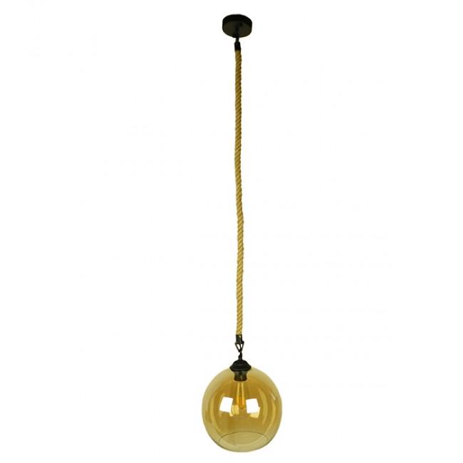 Μοντέρνο Κρεμαστό Φωτιστικό Οροφής Μονόφωτο με 1 Μέτρο Μπεζ Σχοινί Γυάλινο Μελί Διάφανο Φ25 GloboStar LENHAM 01668 - 2