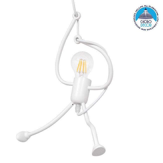 Μοντέρνο Κρεμαστό Φωτιστικό Οροφής Μονόφωτο Λευκό Μεταλλικό Φ20  LITTLE MAN WHITE 01651 - 1