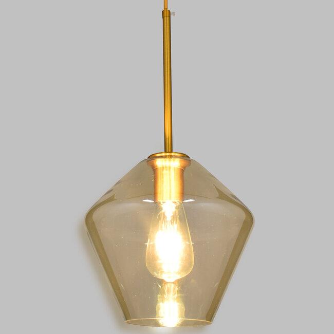 GloboStar® AMARIS 00869 Μοντέρνο Κρεμαστό Φωτιστικό Οροφής Μονόφωτο Γυάλινο Φιμέ Μελί Φ22 x 22CM - 2