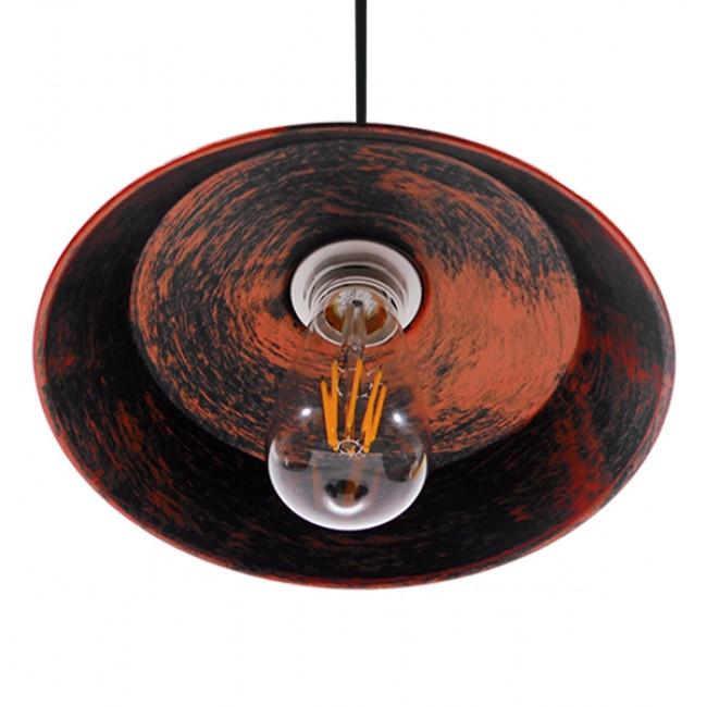 Vintage Industrial Κρεμαστό Φωτιστικό Οροφής Μονόφωτο Καφέ Σκουριά Μεταλλικό Καμπάνα Φ26  RAY IRON RUST 01047 - 6