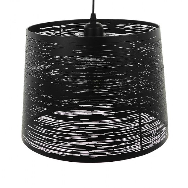 Μοντέρνο Industrial Κρεμαστό Φωτιστικό Οροφής Μονόφωτο Μεταλλικό Μαύρο Καμπάνα Φ35 GloboStar ATLANTIS 01556 - 4