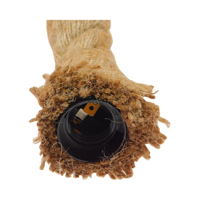 Vintage Industrial Κρεμαστό Φωτιστικό Οροφής Δίφωτο με 1 μέτρο Μπεζ Σχοινί  ROPE 01279 - 4