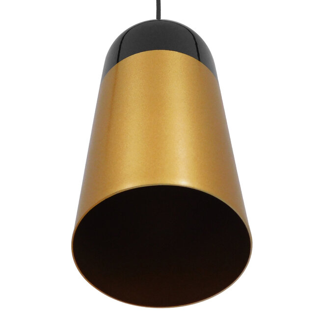 Μοντέρνο Κρεμαστό Φωτιστικό Οροφής Μονόφωτο Μαύρο - Χρυσό Μεταλλικό Καμπάνα Φ14  PALAZZO GOLD BLACK 01523 - 6