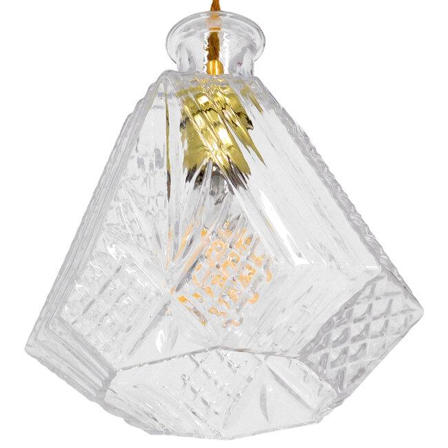 Vintage Κρεμαστό Φωτιστικό Οροφής Μονόφωτο Γυάλινο Διάφανο Φ11  LIQUEUR 01515 - 6