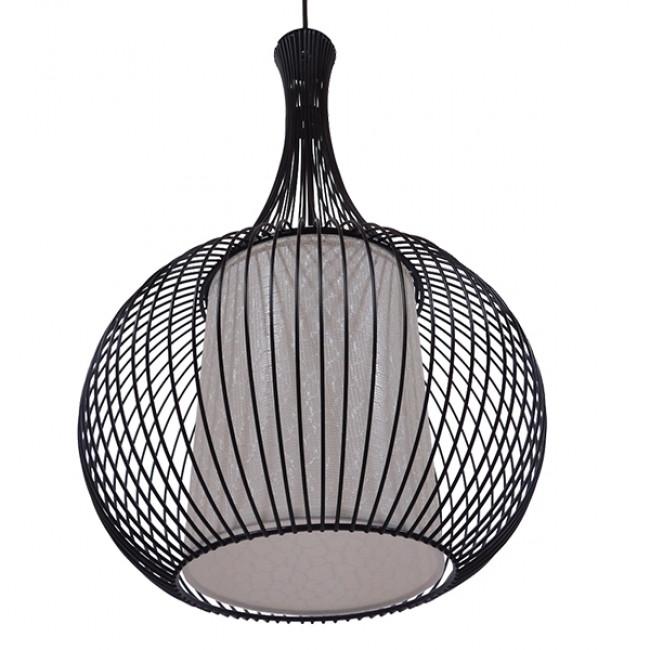 Μοντέρνο Κρεμαστό Φωτιστικό Οροφής Μονόφωτο Μαύρο Μεταλλικό Πλέγμα με Υφασμάτινο Εσωτερικό Καπέλο Φ30  BERNA 01198 - 5