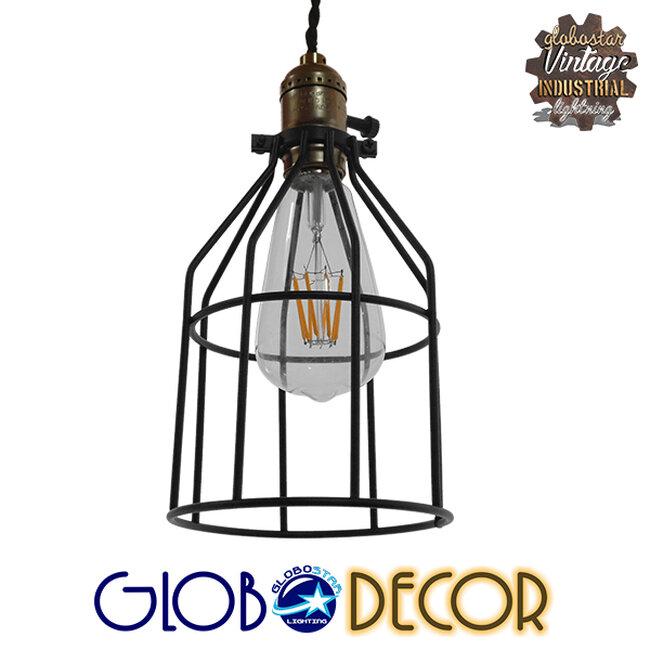 Vintage Industrial Κρεμαστό Φωτιστικό Οροφής Μονόφωτο Μαύρο Μεταλλικό Πλέγμα Φ14  GALOT 01179 - 1