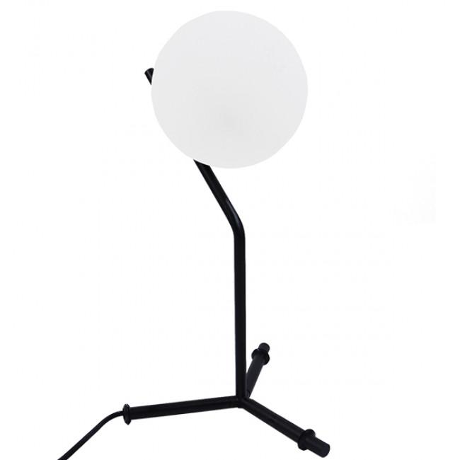 Μοντέρνο Επιτραπέζιο Φωτιστικό Πορτατίφ Μονόφωτο Μαύρο Μεταλλικό με Λευκό Γυαλί Φ23 GloboStar ELFRIS 01100 - 9