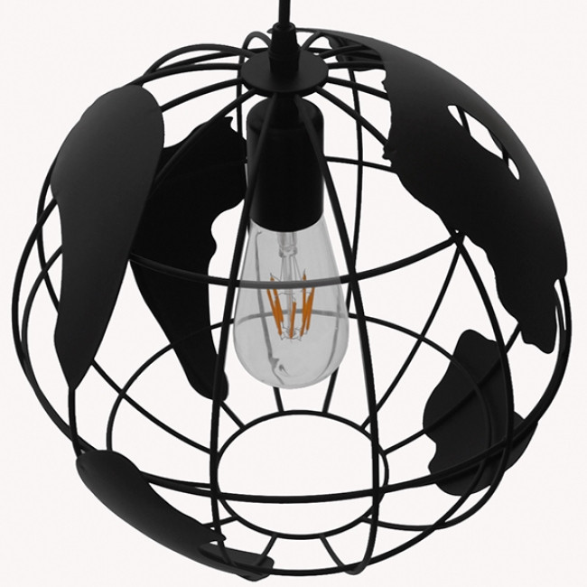Vintage Industrial Κρεμαστό Φωτιστικό Οροφής Μονόφωτο Μαύρο Μεταλλικό Πλέγμα Φ30  WORLD 01205 - 5