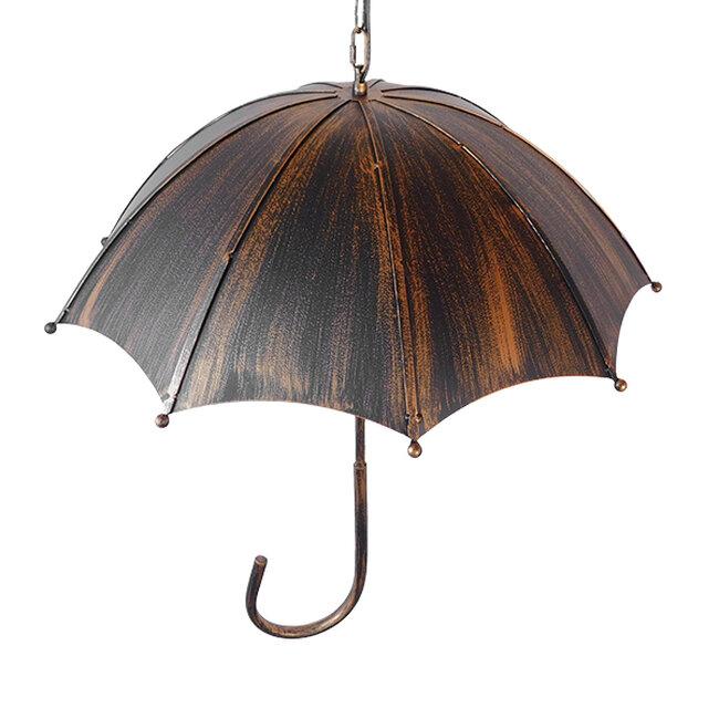 Vintage Industrial Κρεμαστό Φωτιστικό Οροφής Πολύφωτο Μαύρο Καφέ Σκουριά Μεταλλικό Φ58  UMBRELLA BLACK 01406 - 7