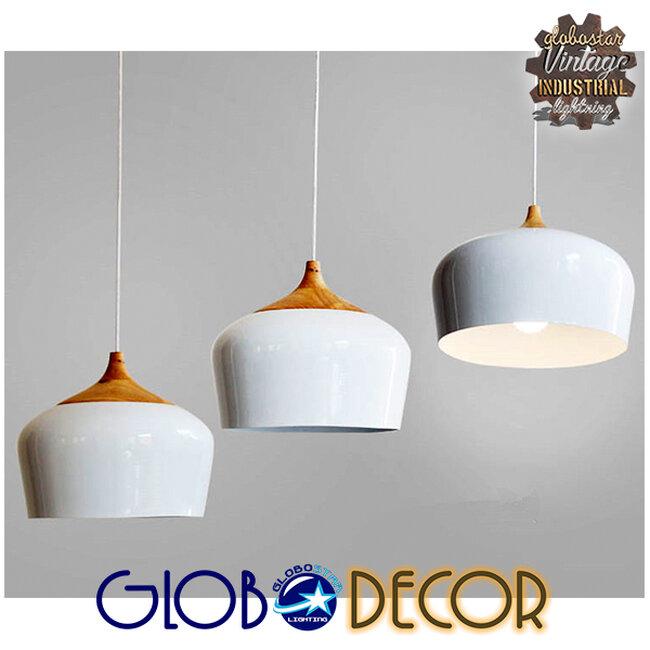 Μοντέρνο Κρεμαστό Φωτιστικό Οροφής Μονόφωτο Λευκό Μεταλλικό Καμπάνα Φ35  VILI WHITE 01260 - 6