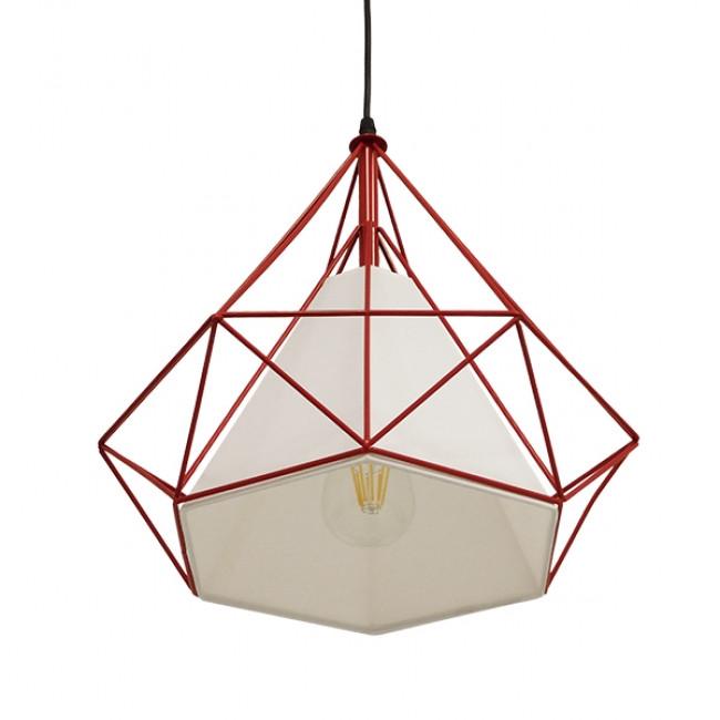 Μοντέρνο Industrial Κρεμαστό Φωτιστικό Οροφής Μονόφωτο Κόκκινο με Άσπρο Ύφασμα Μεταλλικό Πλέγμα Φ38 GloboStar KAIRI RED 01620 - 4