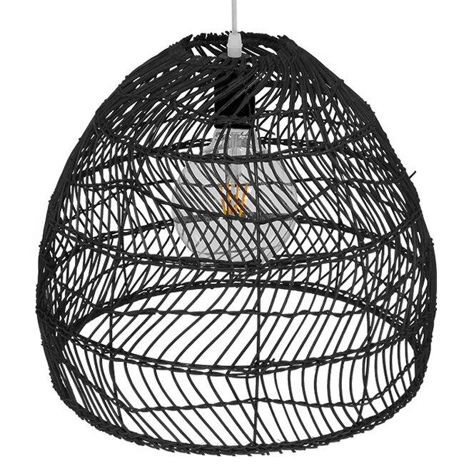 Vintage Κρεμαστό Φωτιστικό Οροφής Μονόφωτο Μαύρο Ξύλινο Bamboo Φ40cm  COMORES BLACK 00969 - 4