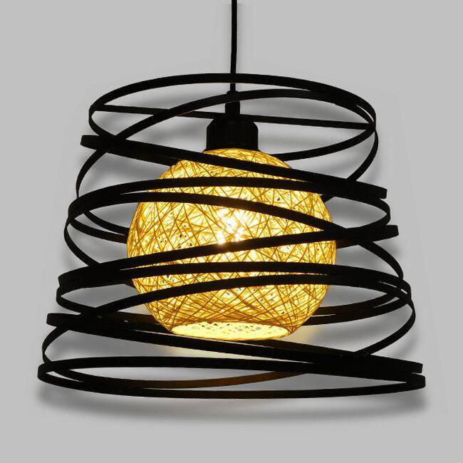 Μοντέρνο Industrial Κρεμαστό Φωτιστικό Οροφής Μονόφωτο Μαύρο με Εκρού Μεταλλικό Πλέγμα Φ32  CARTER Φ32 00961 - 2