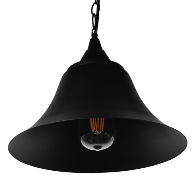Vintage Industrial Κρεμαστό Φωτιστικό Οροφής Μονόφωτο Μαύρο Μεταλλικό Καμπάνα Φ29 GloboStar CLOCHER 01041 - 4
