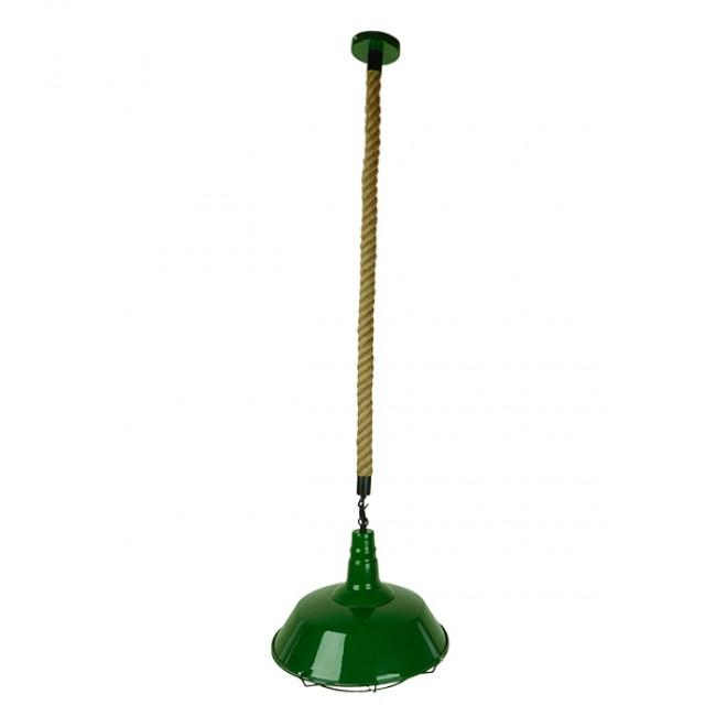 Vintage Industrial Κρεμαστό Φωτιστικό Οροφής Μονόφωτο Πράσινο Λευκό Μεταλλικό Καμπάνα Πλέγμα με Μπεζ Σχοινί Φ36 GloboStar ELEDA 01408 - 2