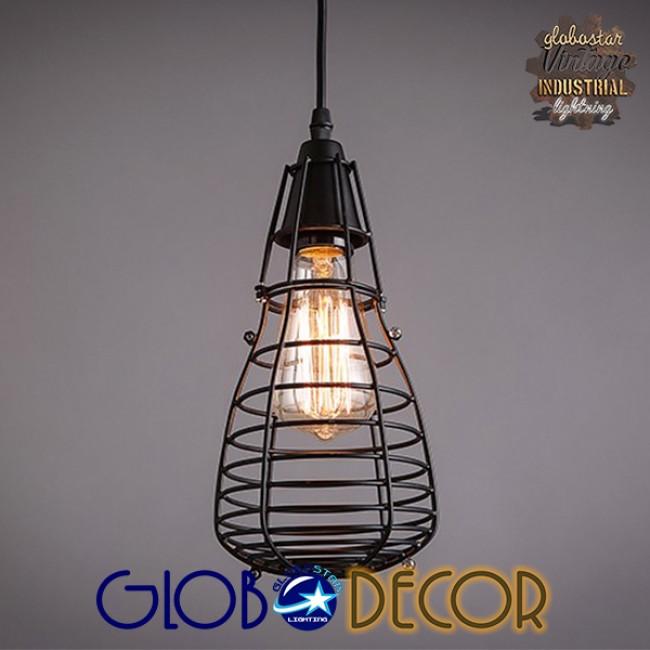 Vintage Industrial Κρεμαστό Φωτιστικό Οροφής Πολύφωτο Μαύρο Μεταλλικό Πλέγμα GloboStar DROPS 01059 - 6