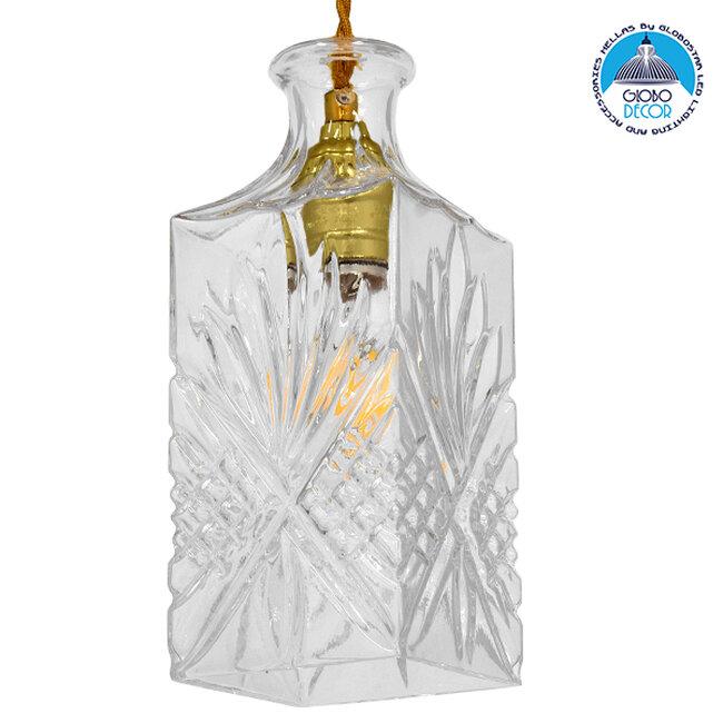 Vintage Κρεμαστό Φωτιστικό Οροφής Μονόφωτο Γυάλινο Διάφανο Φ10  BRANDY 01516 - 1