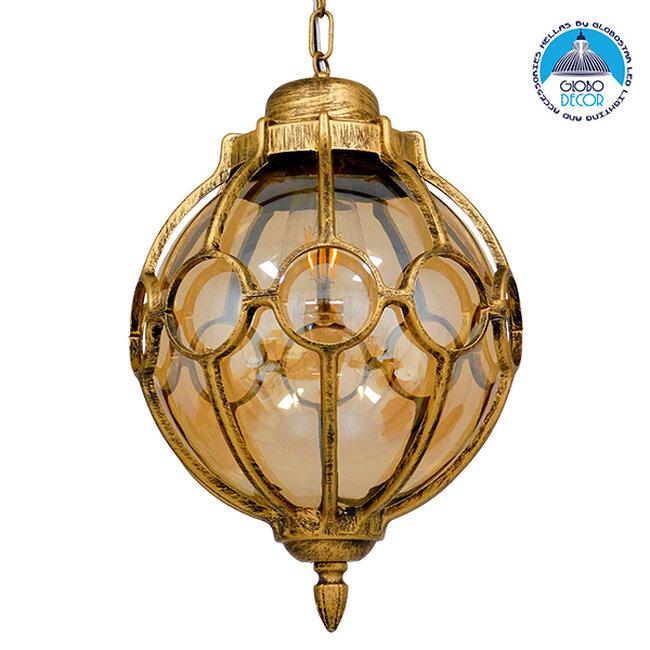 ETOILE 00987 Vintage Industrial Κρεμαστό Φωτιστικό Οροφής Μονόφωτο Μπρονζέ Χρυσό Μεταλλικό Πλέγμα με Μελί Γυαλί Φ28 x Υ38cm - 1