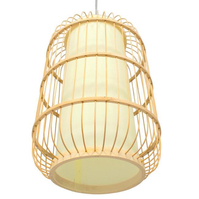 DE PARIS 00893 Vintage Κρεμαστό Φωτιστικό Οροφής Μονόφωτο Μπεζ Ξύλινο Bamboo Φ25 x Υ42cm - 5