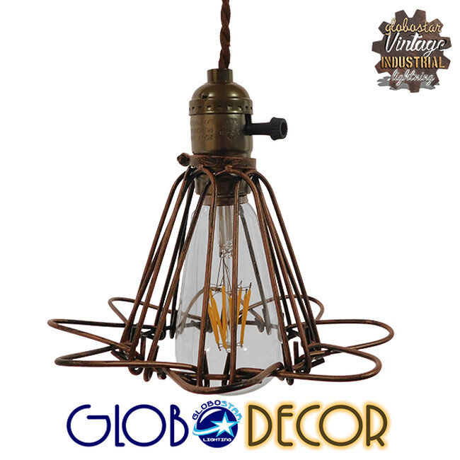 Vintage Industrial Κρεμαστό Φωτιστικό Οροφής Μονόφωτο Καφέ Σκουριά Μεταλλικό Πλέγμα Φ10  FLOWER IRON RUST 01180 - 1